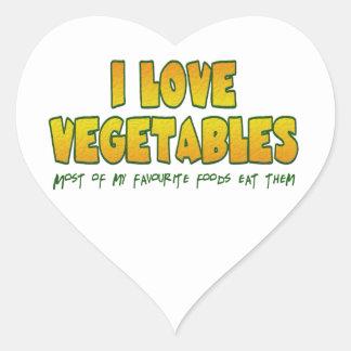 I love vegetables heart sticker