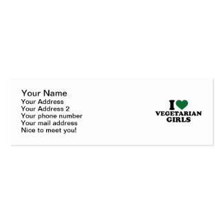 I love vegetarian girls mini business card