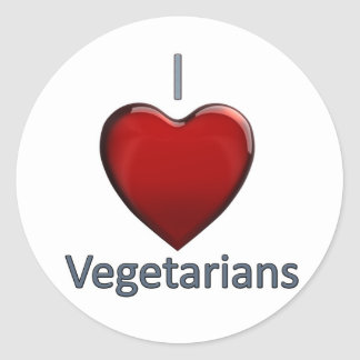 I Love Vegetarians Classic Round Sticker