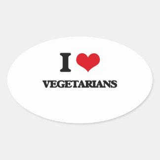 I love Vegetarians Oval Sticker