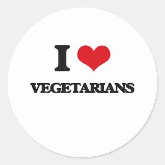 I love Vegetarians Round Sticker