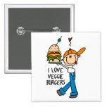 I Love Veggie Burgers Pin