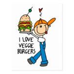 I Love Veggie Burgers Post Cards