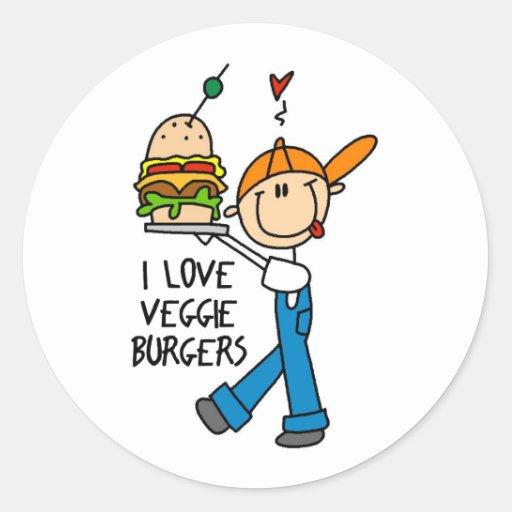 I Love Veggie Burgers Stickers