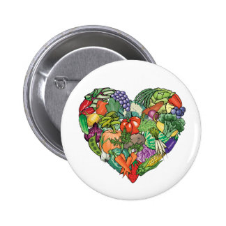 I Love Veggies Pinback Buttons