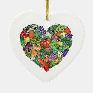 I Love Veggies Ceramic Ornament