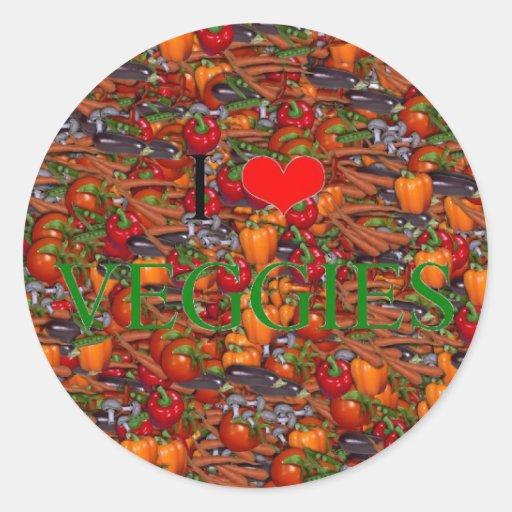 I Love Veggies Classic Round Sticker