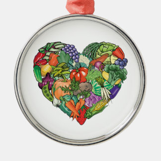 I Love Veggies Metal Ornament