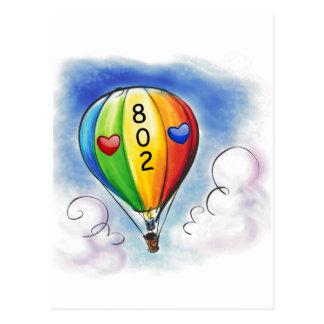 I Love Vermont - 802 - Balloon Post card