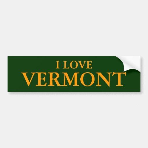 I LOVE VERMONT BUMPERSTICKERS CAR BUMPER STICKER
