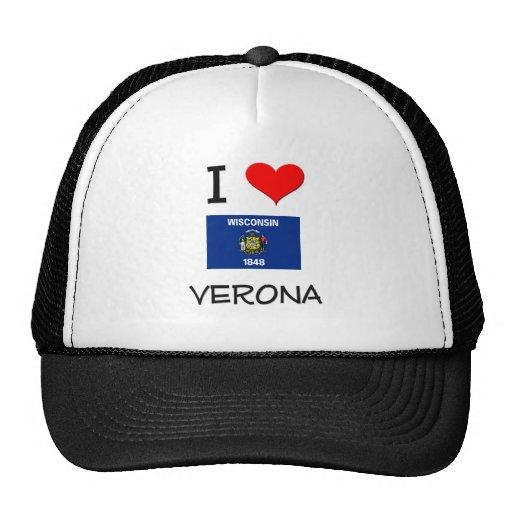 I Love Verona Wisconsin Trucker Hat