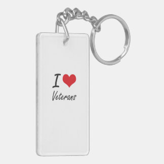 I love Veterans Double-Sided Rectangular Acrylic Keychain