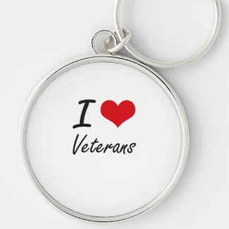 I love Veterans Silver-Colored Round Keychain