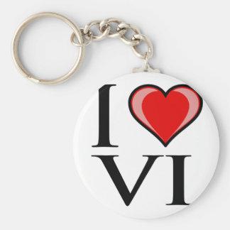 I Love VI - Virgin Islands Basic Round Button Keychain