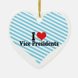 I Love Vice Presidents Double-Sided Heart Ceramic Christmas Ornament
