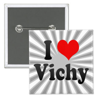 I Love Vichy, France. J'Ai L'Amour Vichy, France Pinback Buttons