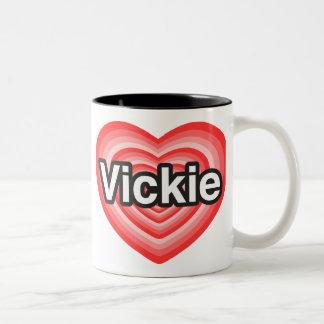 I love Vickie. I love you Vickie. Heart Two-Tone Coffee Mug