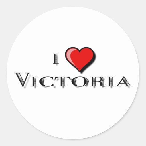 I Love Victoria Classic Round Sticker