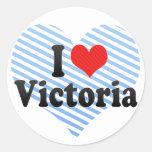 I Love Victoria Round Stickers
