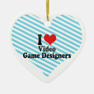 I Love Video Game Designers Christmas Ornaments