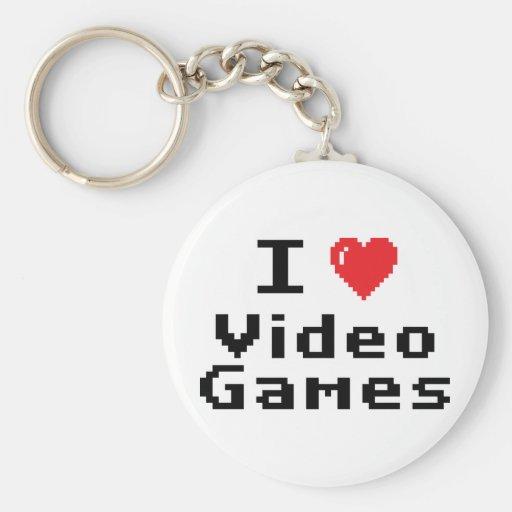 I Love Video Games Basic Round Button Keychain