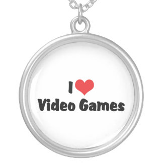 I Love Video Games Round Pendant Necklace