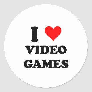 I Love Video Games Round Stickers