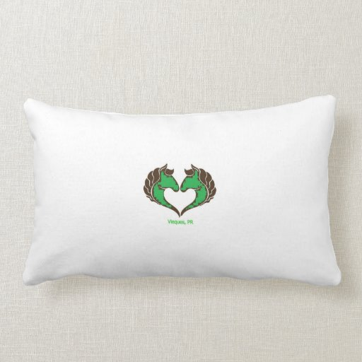I Love Vieques Horses Green Pillow