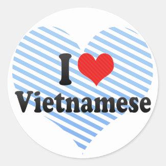 I Love Vietnamese Round Stickers