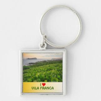 I Love Vila Franca Silver-Colored Square Keychain