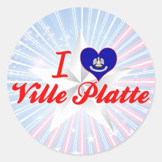 I Love Ville Platte Louisiana Round Stickers