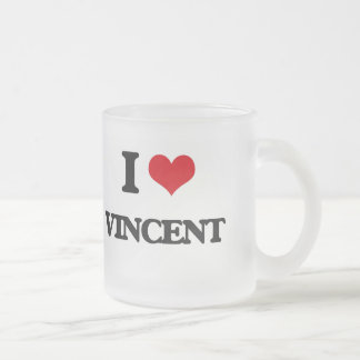 I Love Vincent 10 Oz Frosted Glass Coffee Mug