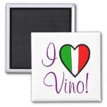 I Love Vino-Italian Flag 2 Inch Square Magnet