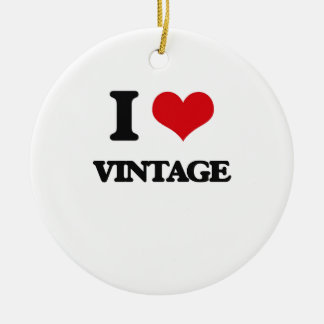 I love Vintage Double-Sided Ceramic Round Christmas Ornament