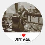 I Love Vintage Round Sticker