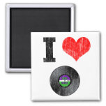 I Love Vinyl Records 2 Inch Square Magnet