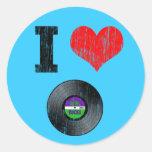 I Love Vinyl Records Round Stickers
