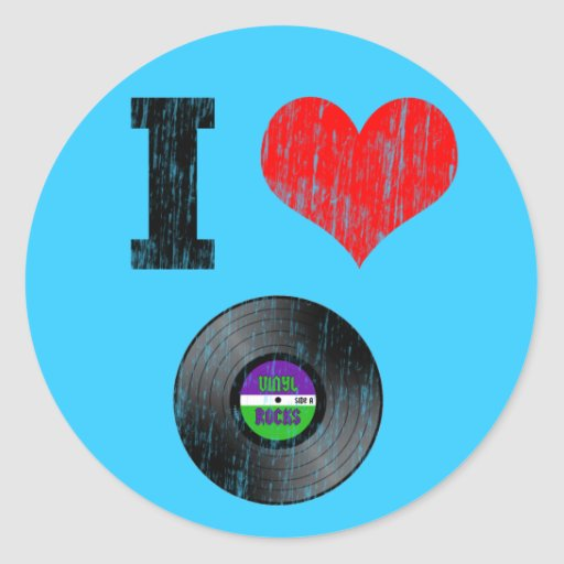 I Love Vinyl Records Round Stickers Zazzle