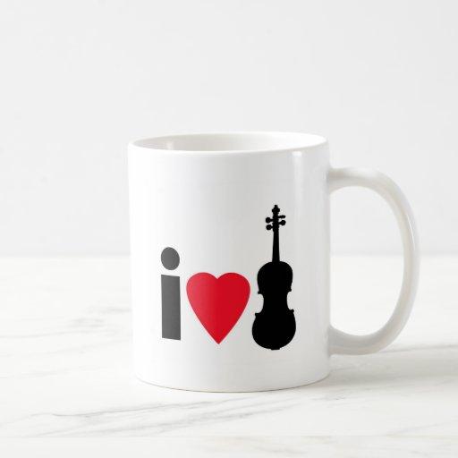 I Love Violin Classic White Coffee Mug