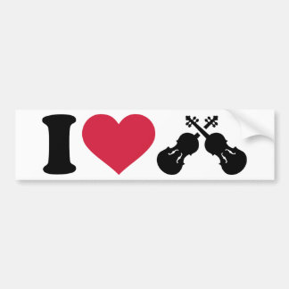 I love Violin Fiddle Bumper Sticker