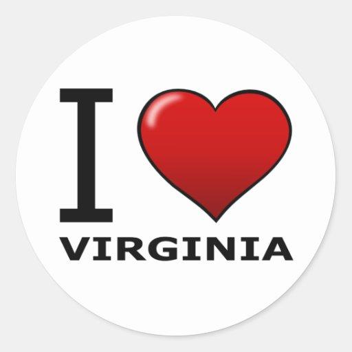 I LOVE VIRGINIA ROUND STICKER