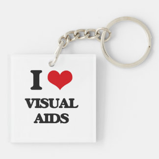 I love Visual Aids Double-Sided Square Acrylic Keychain