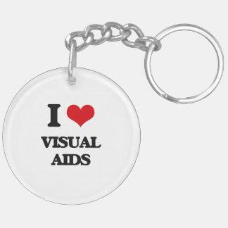 I love Visual Aids Double-Sided Round Acrylic Keychain