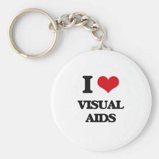 I love Visual Aids Basic Round Button Keychain