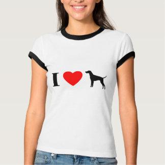 I Love Vizslas Ladies Ringer T-Shirt