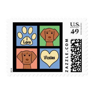 I Love Vizslas Postage Stamp