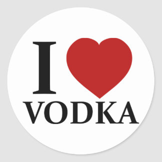 I Love Vodka Classic Round Sticker
