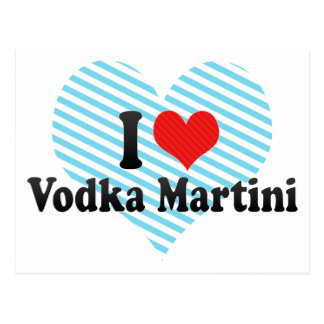 I Love Vodka Martini Postcard
