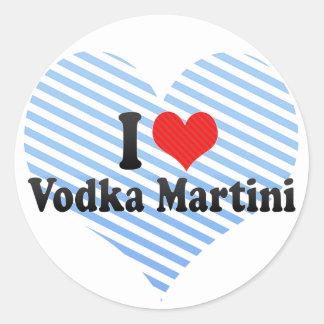 I Love Vodka Martini Round Stickers