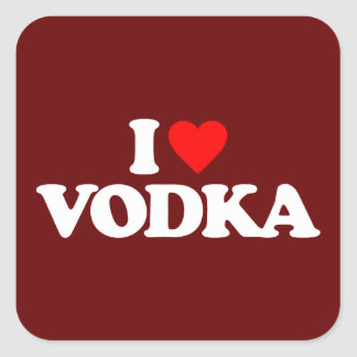 I LOVE VODKA SQUARE STICKER